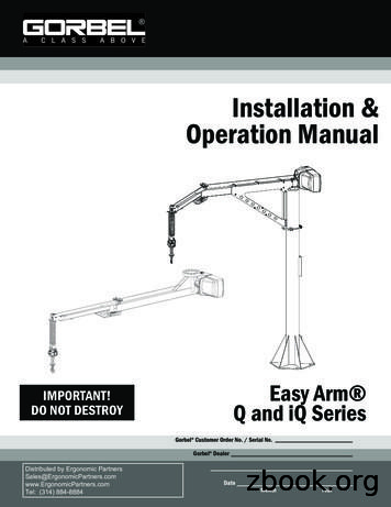 Installation & Operation Manual - Ergonomic Partners