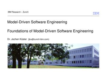 Model-Driven Software Engineering Foundations of Model .