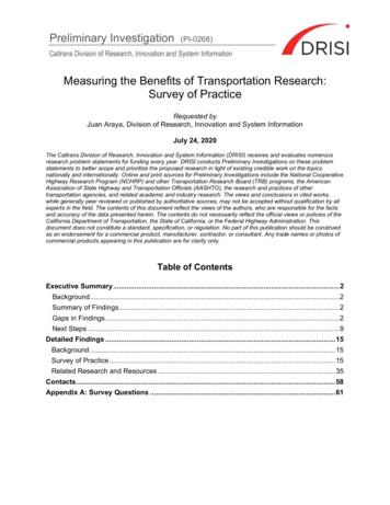 Caltrans Division of Research, Innovation and System .