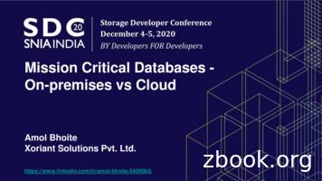 Mission Critical Databases - On-premises vs Cloud