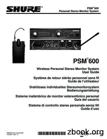 Shure PSM600 User Guide (English) - Allstar Show Industries