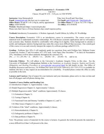 Applied Econometrics I -- Economics 1150 Instructor: TAs .