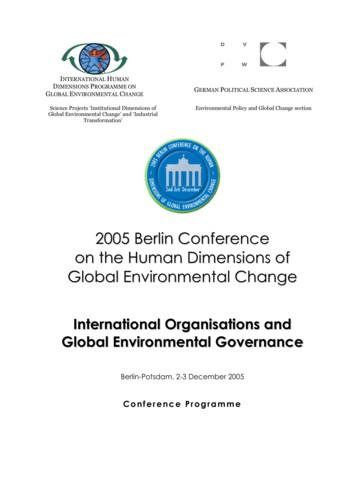 2005 Berlin Conference on the Human Dimensions of Global .