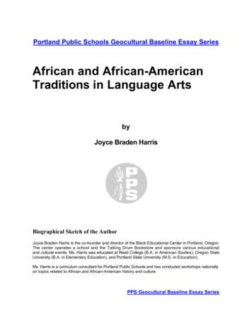 AFRICAN AND AFRICAN-AMERICAN TRADITIONS IN LANGUAGE ARTS