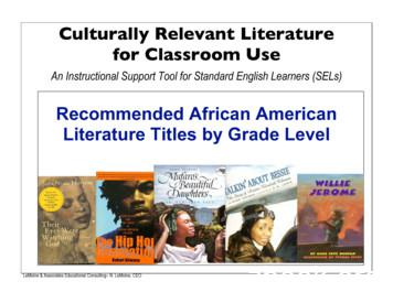 Recommended African American Literature Titles by Grade Level