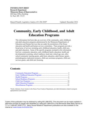 Community, Early Childhood, and Adult Education Programs