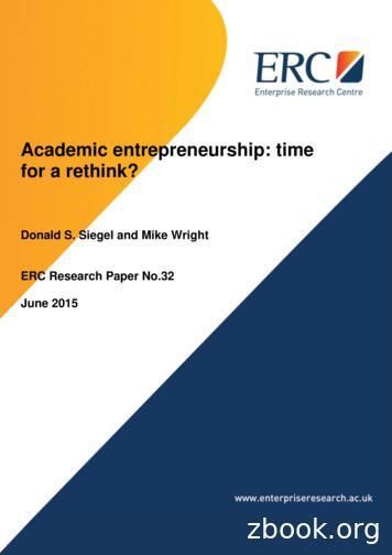 Academic entrepreneurship: time for a rethink?