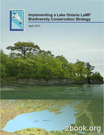 Implementing a Lake Ontario LaMP Biodiversity Conservation .