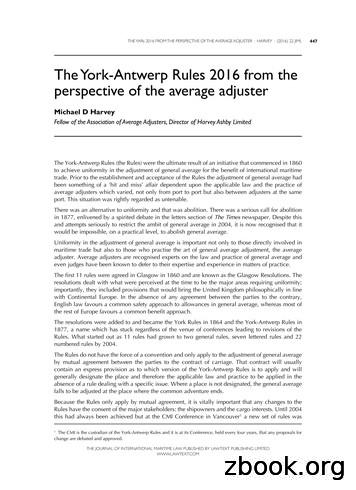 The York-Antwerp Rules 2016 from the perspective of the .