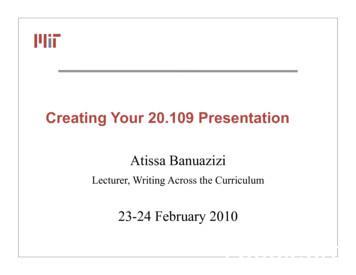 Creating Your 20.109 Presentation
