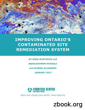 IMPROVING ONTARIO'S CONTAMINATED SITE REMEDIATION SYSTEM