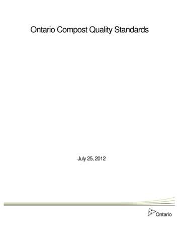 Ontario Compost Quality Standards - EWSWA