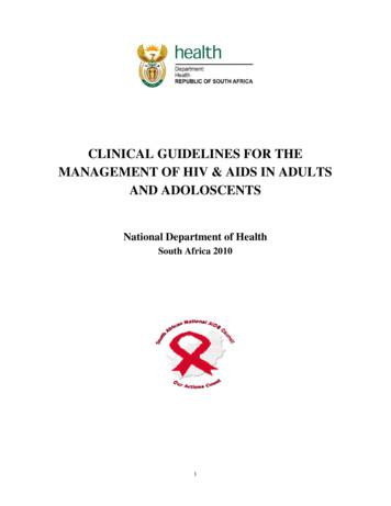 CLINICAL GUIDELINES FOR THE MANAGEMENT OF HIV & AIDS IN .