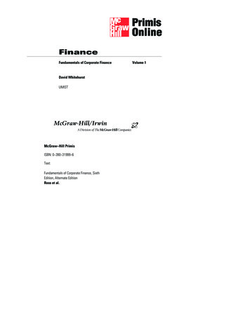 Fundamentals of Corporate Finance Volume 1 David Whitehurst