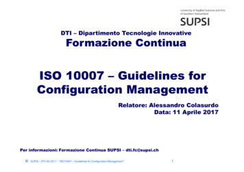 ISO 10007 –Guidelines for Configuration Management