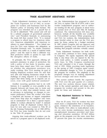 TRADE ADJUSTMENT ASSISTANCE: HISTORY