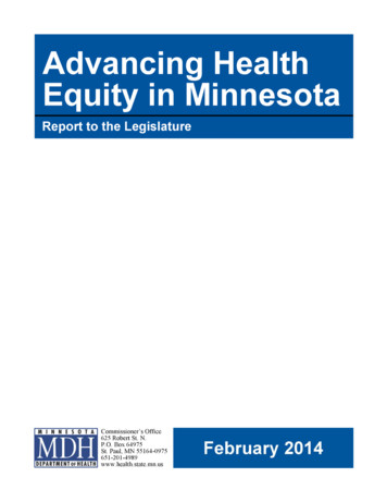 Title: Advancing Health Equity: Report to the Legislature