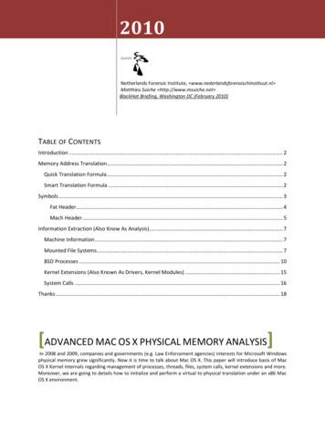 ADVANCED MAC OS X PHYSICAL MEMORY ANALYSIS