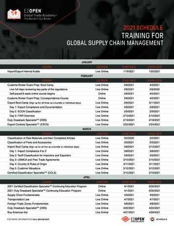GLOBAL SUPPLY CHAIN MANAGEMENT - E2open