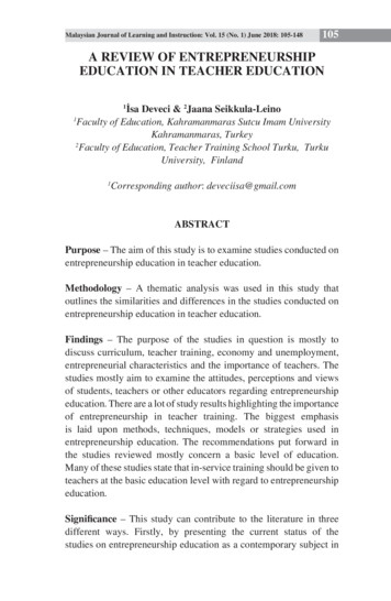 A Review of Entrepreneurship Education in Teacher Education