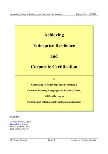 Achieving Enterprise Resilience and Corporate Certification
