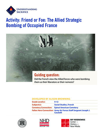 Activity: Friend or Foe: The Allied Strategic Bombing of .