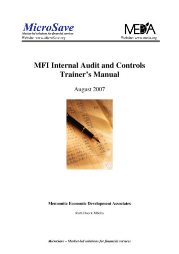 MFI Internal Audit and Controls Trainer's Manual