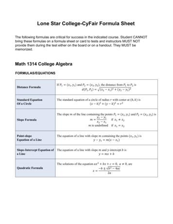 Lone Star College-CyFair Formula Sheet