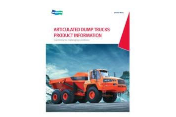 ARTICULATED DUMP TRUCKS PRODUCT INFORMATION