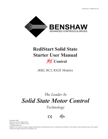 RediStart Solid State Starter User Manual