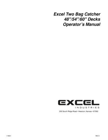 Excel Two Bag Catcher 48/54/60 Decks Operator's Manual