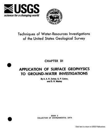 APPLICATION OF SURFACE GEOPHYSICS TO GROUND-WATER .