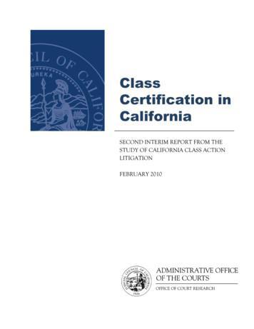 Class Certification in California - California Courts - Home