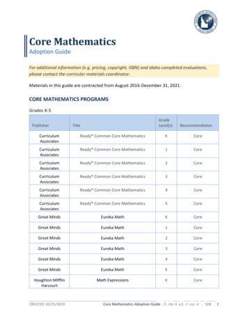 K-12 Core Math Adoption Guide - sde.idaho.gov