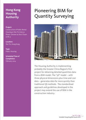 Hong kong Pioneering BIM for Housing Quantity Surveying .