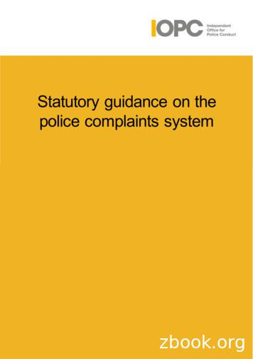 Statutory guidance on the police complaints system