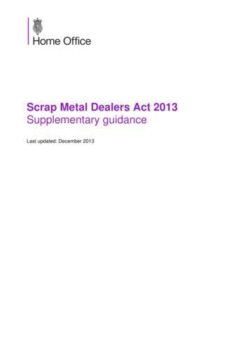 Scrap Metal Dealers Act 2013 Supplementary guidance