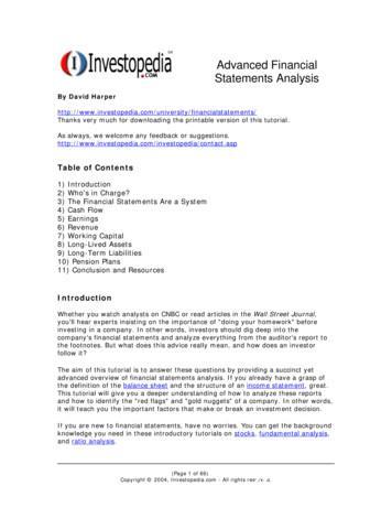 Advanced Financial Statements Analysis - WordPress
