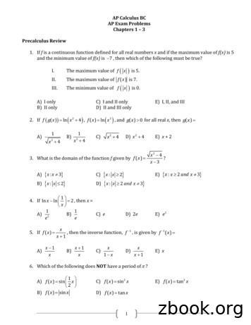 AP Calculus BC AP Exam Problems Chapters 1 3 Precalculus .