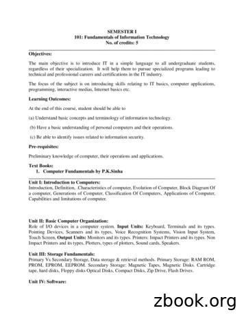 SEMESTER I 101: Fundamentals of Information Technology No .