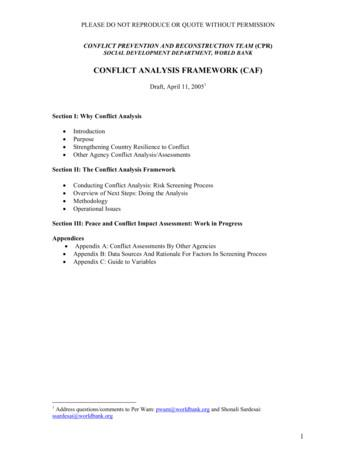 CONFLICT ANALYSIS FRAMEWORK (CAF)