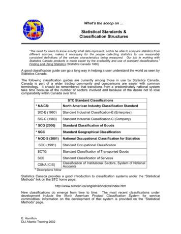 Statistical Standards and Classification Structures