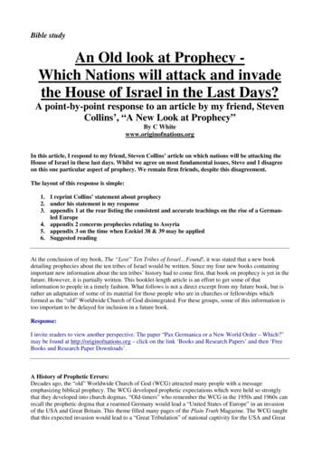 Bible study An Old look at Prophecy - Which Nations will .