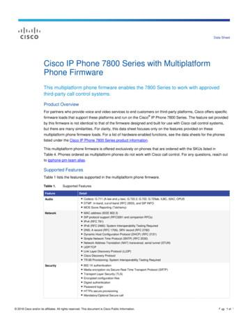 Cisco IP Phone 7800 Series with Multiplatform Phone .