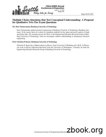 Multiple Choice Questions that Test Conceptual .