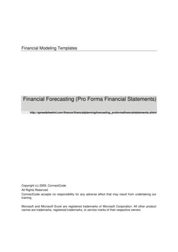 Financial Forecasting (Pro Forma Financial Statements)