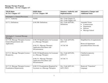 Massage Therapy - DSHS/TDLR Rules Cross Reference Chart