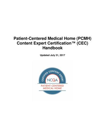 Patient-Centered Medical Home (PCMH) Content Expert . - AMP