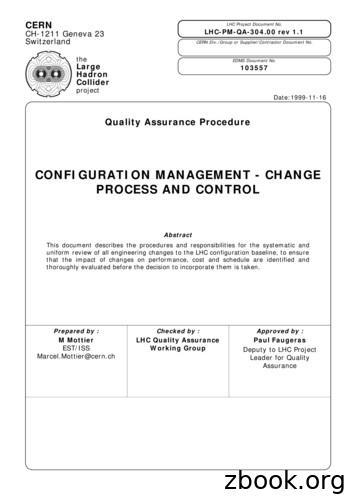 CONFIGURATION MANAGEMENT - CHANGE PROCESS AND CONTROL