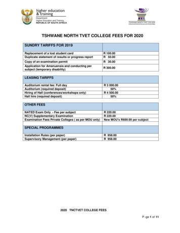 TSHWANE NORTH TVET COLLEGE FEES FOR 2020